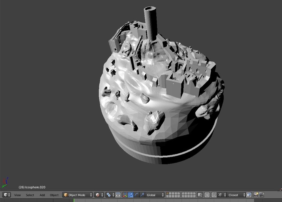 Blender model of smolen castle for 3D printed snow globe from Juriperus