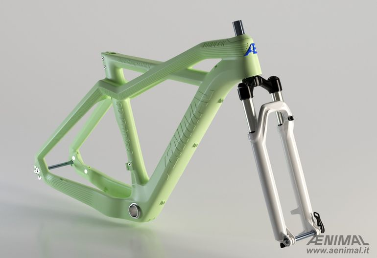 eurocompositi 3D printed compostable bike frame AENIMAL PROJECT front