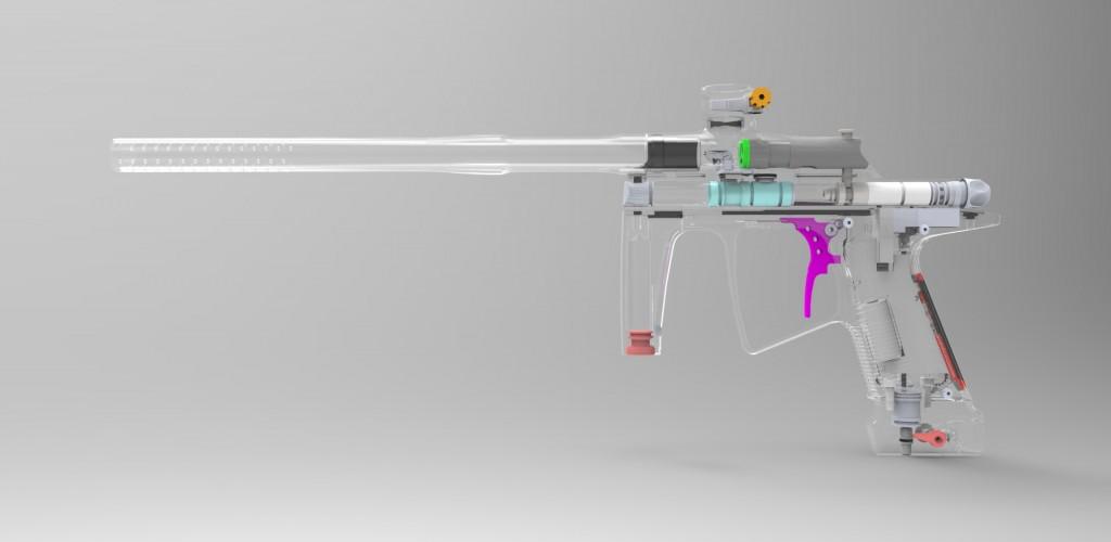 internal mechanics of j4 paintball gun prototyped with 3D printing