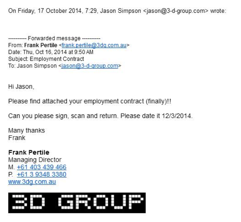 jason's employment contract 3D group 3D printing