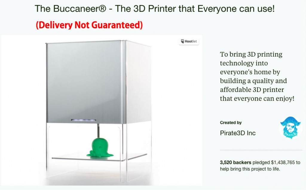 bucaneer 3D printer on Kickstarter