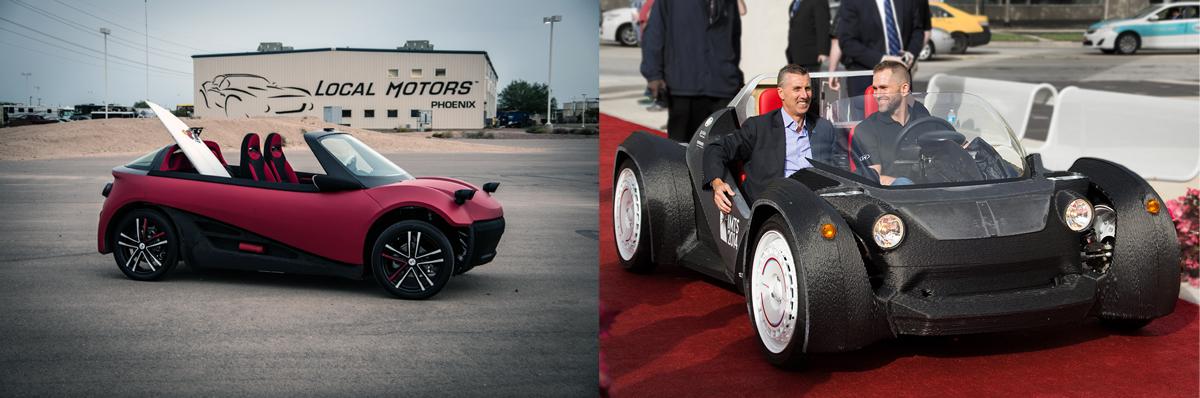 Local Motors LM3D 3D printed car next to Strati 3D printed car