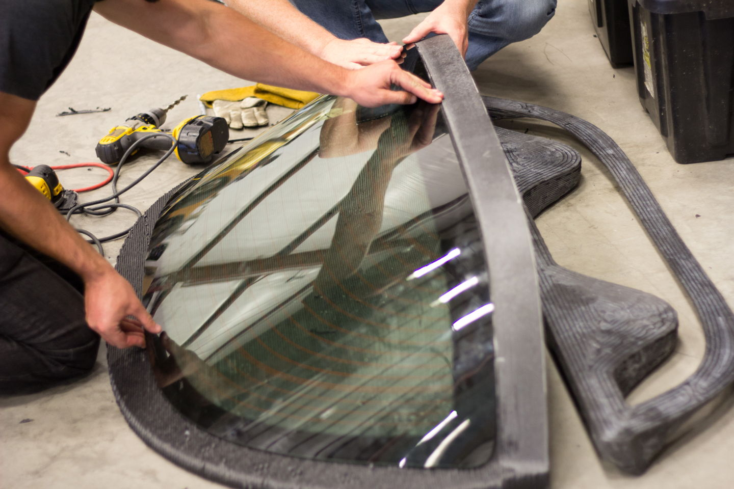 glass local motors LM3D 3D printed car being built