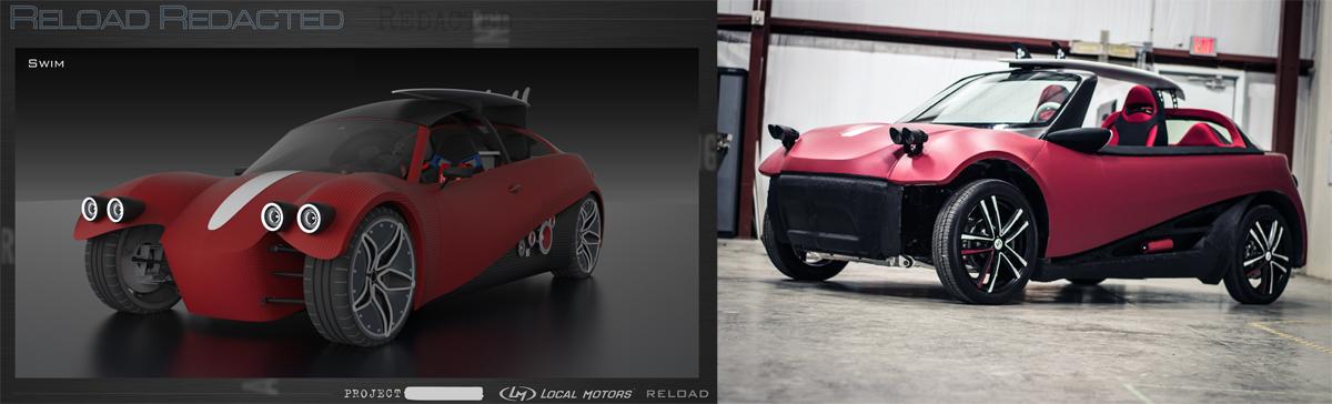 local motors 3D printed car swim vs real
