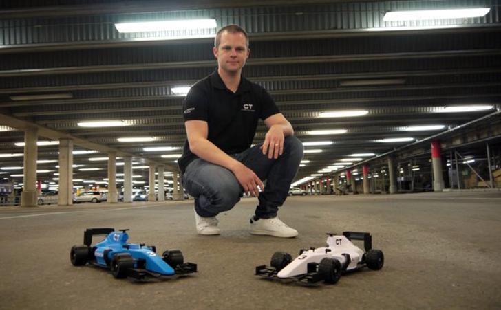 Daniel Noree with 3D printed R:C formula 1 car