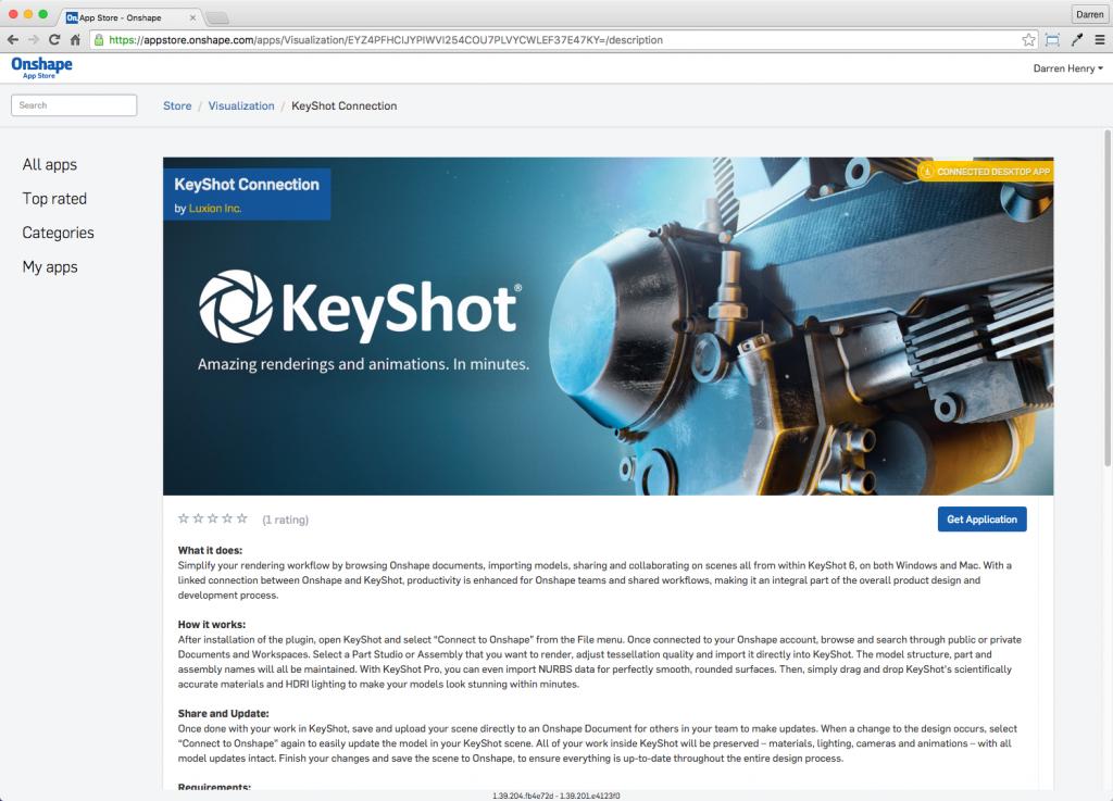 Onshape App Store Connected Desktop