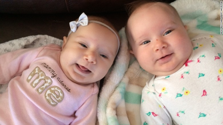 Teegan Lexcen with her twin Riley