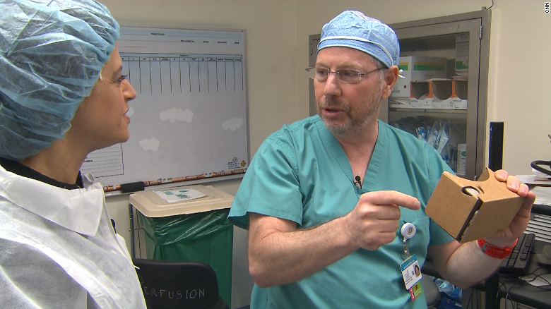 Nicklaus Children's Hospital doctors discussing Google Cardboard