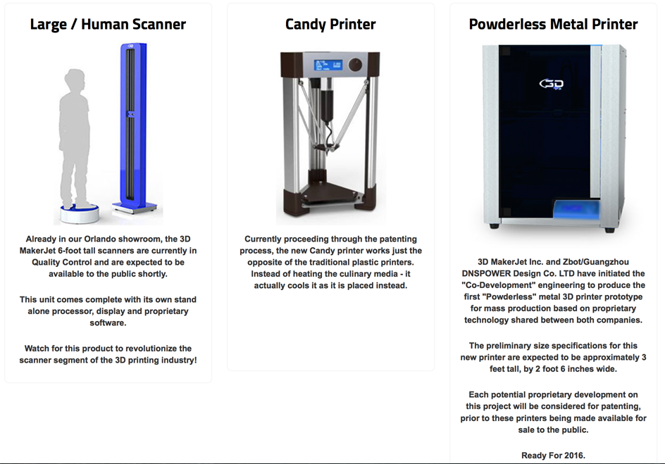3D makerjet 3D printing technologies fraudulent