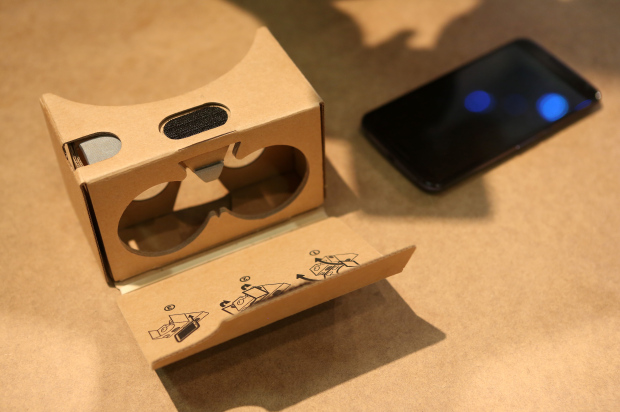 BERLIN, GERMANY - DECEMBER 11: A Google Cardboard headset is seen on December 11, 2015 in Berlin, Germany. The foldout virtual reality (VR) cardboard mount for a mobile phone is usable with apps designed for the inexpensive hardware. (Photo by Adam Berry/Getty Images)