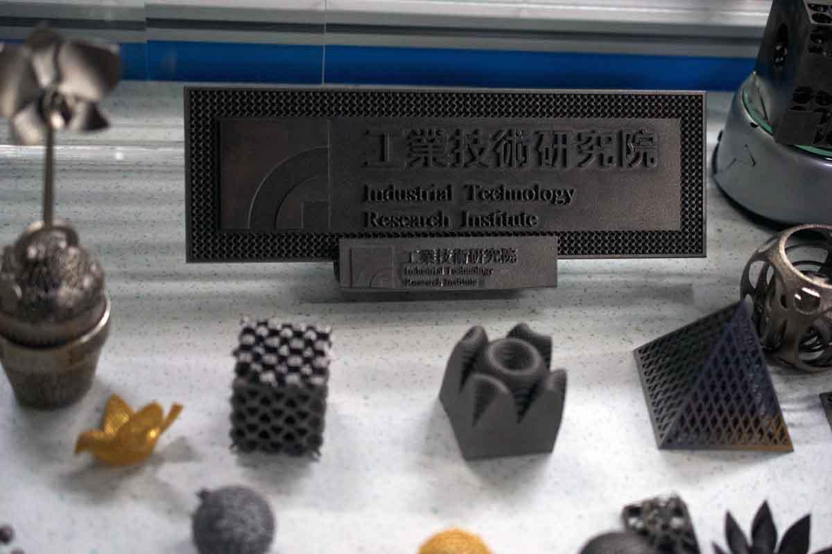 ITRI optical engine metal 3D printer printed parts on display