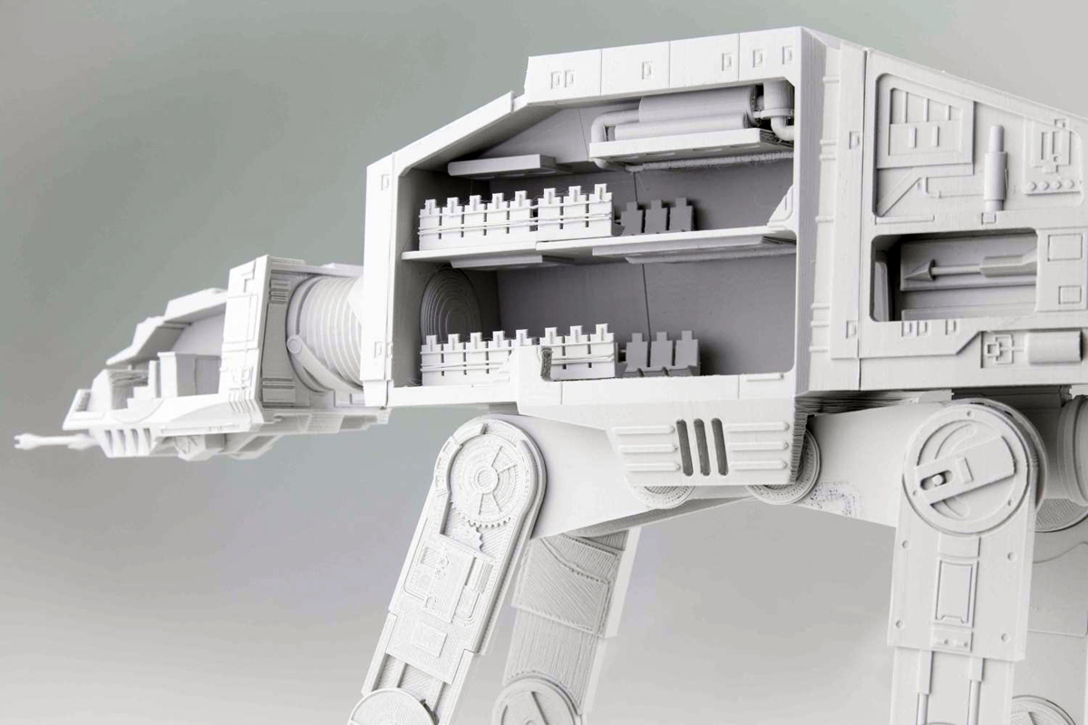 Inside kirby downey's 3D printed AT-AT on MyMiniFactory
