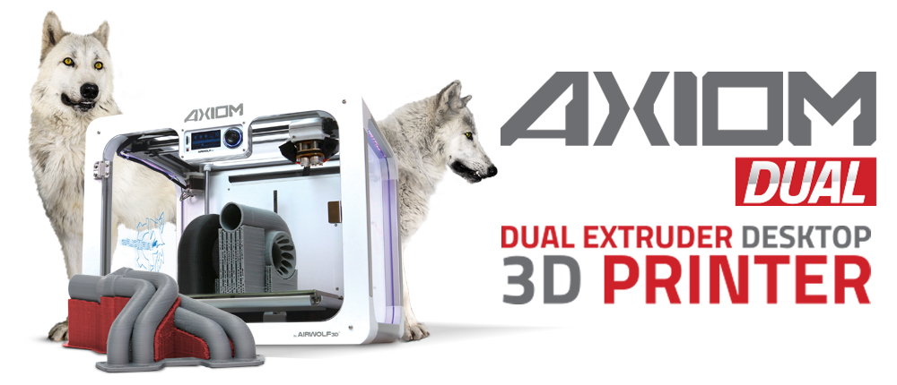 airwolf 3D dual extruder axiom 2 3D printer with wolves