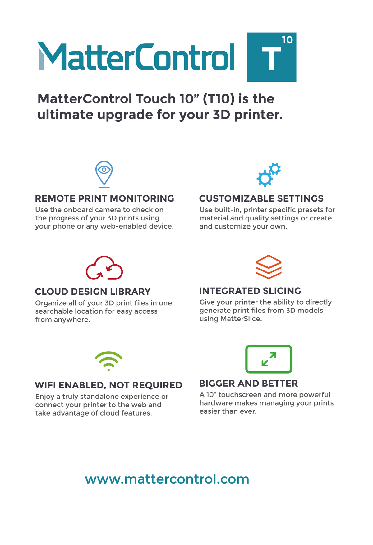 mattercontrol t10 3D printing platform from matter hackers features