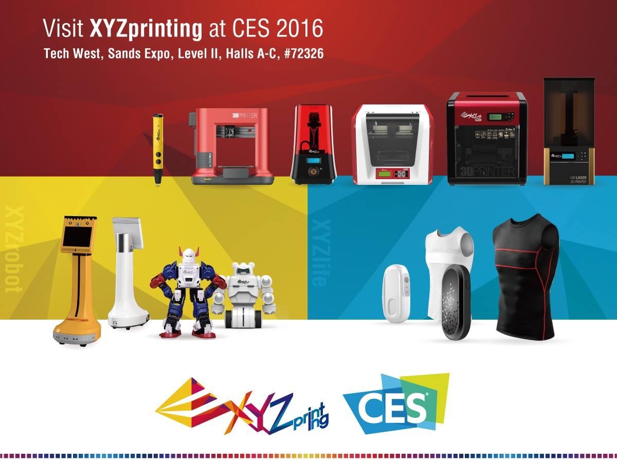 xyzprinting 3D printing at CES 2016