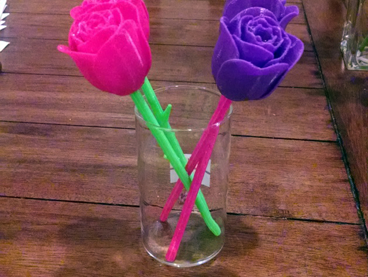 3D Printed Rose with stem & thorns by skaye found on Thingiverse