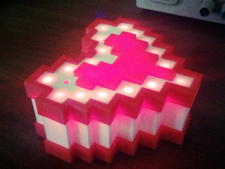 3D printed 8 Bit Heart (LED Diffuser) by PuZZleDucK found on Thingiverse