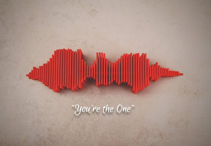 "3D printed ""You're the one"" sound wave by Jono Burgers found on Pinshape"