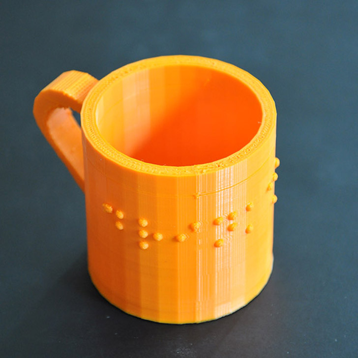 3D printed drink me braille cup