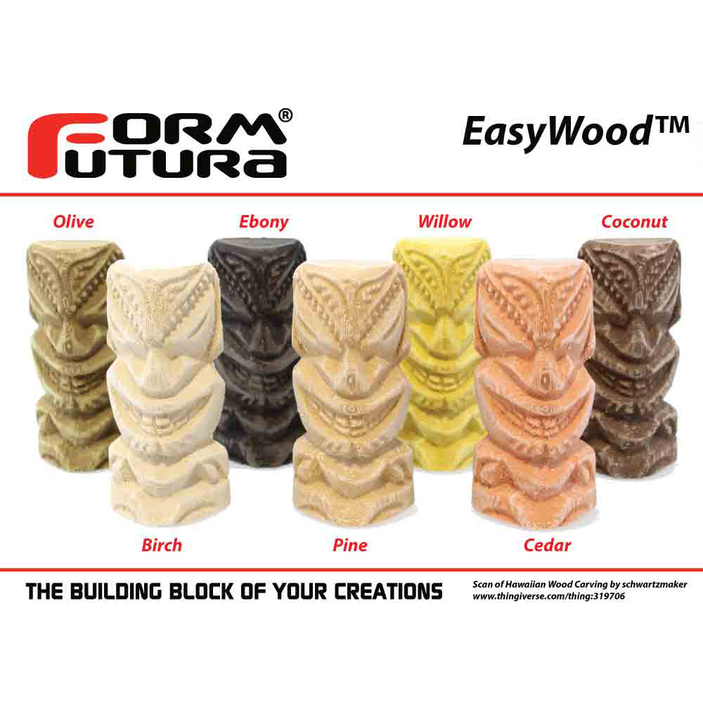 EasyWood 3D printed tikis from Formfutura
