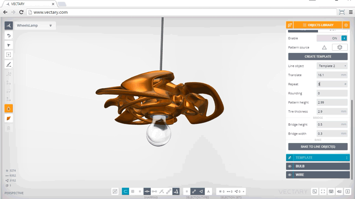 Snapshot of Vectary 3D modeling for 3d printing software