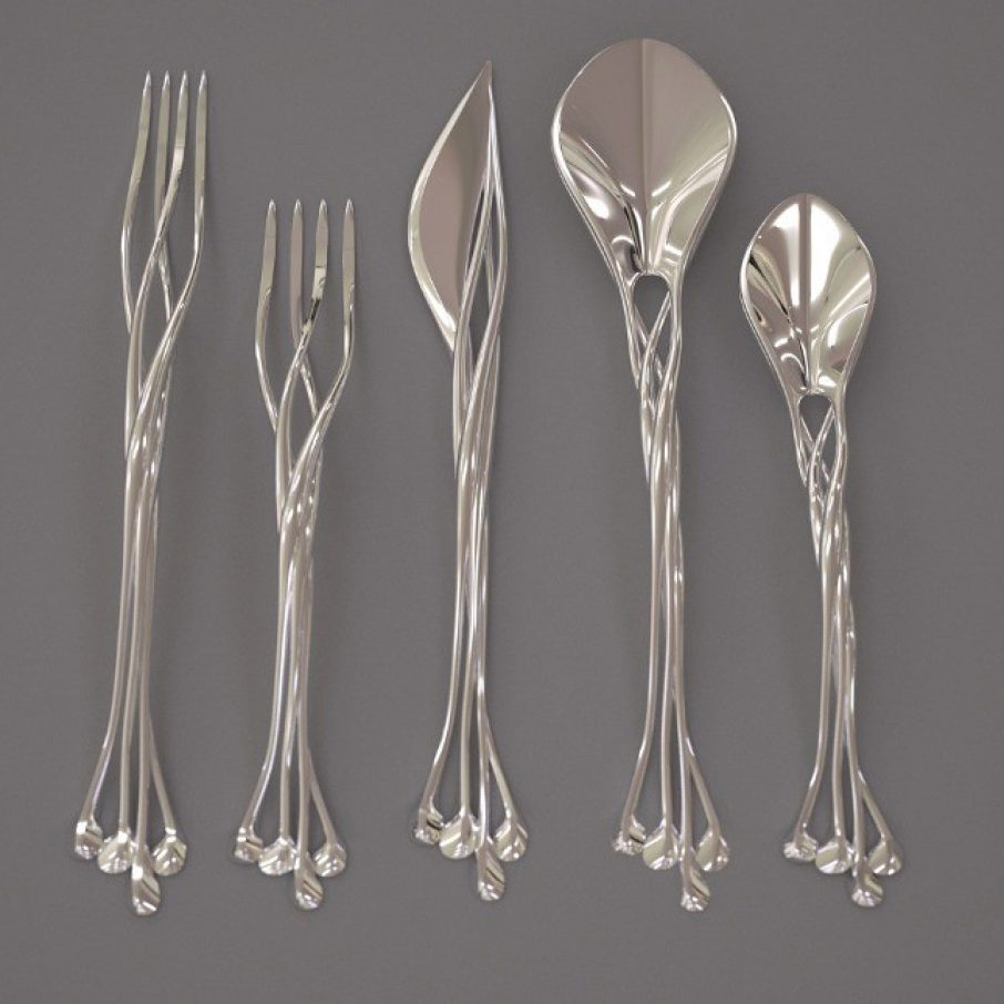 Eat like elven royalty with francis bitonti s metal 3d Unique flatware sets