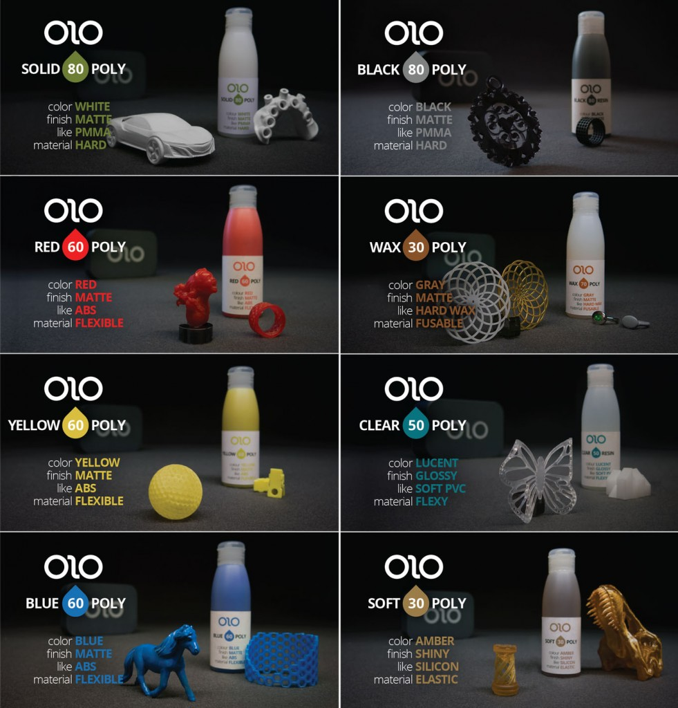 olo 3D printer with resins