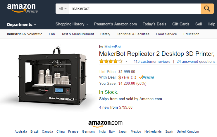 Makerbot Replicator 2 for $799 on Amazon