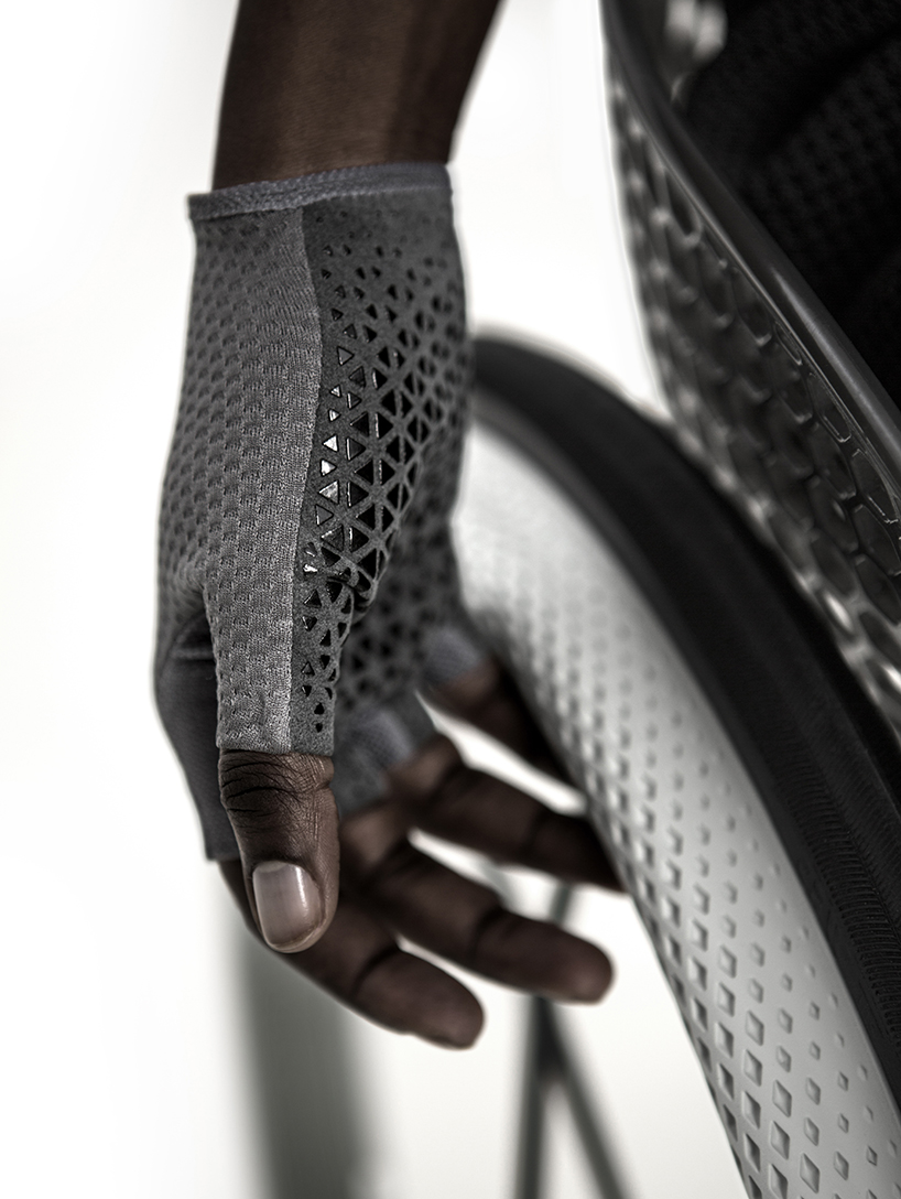 The world's first custom 3D printed consumer wheelchair, high friction rim and glove