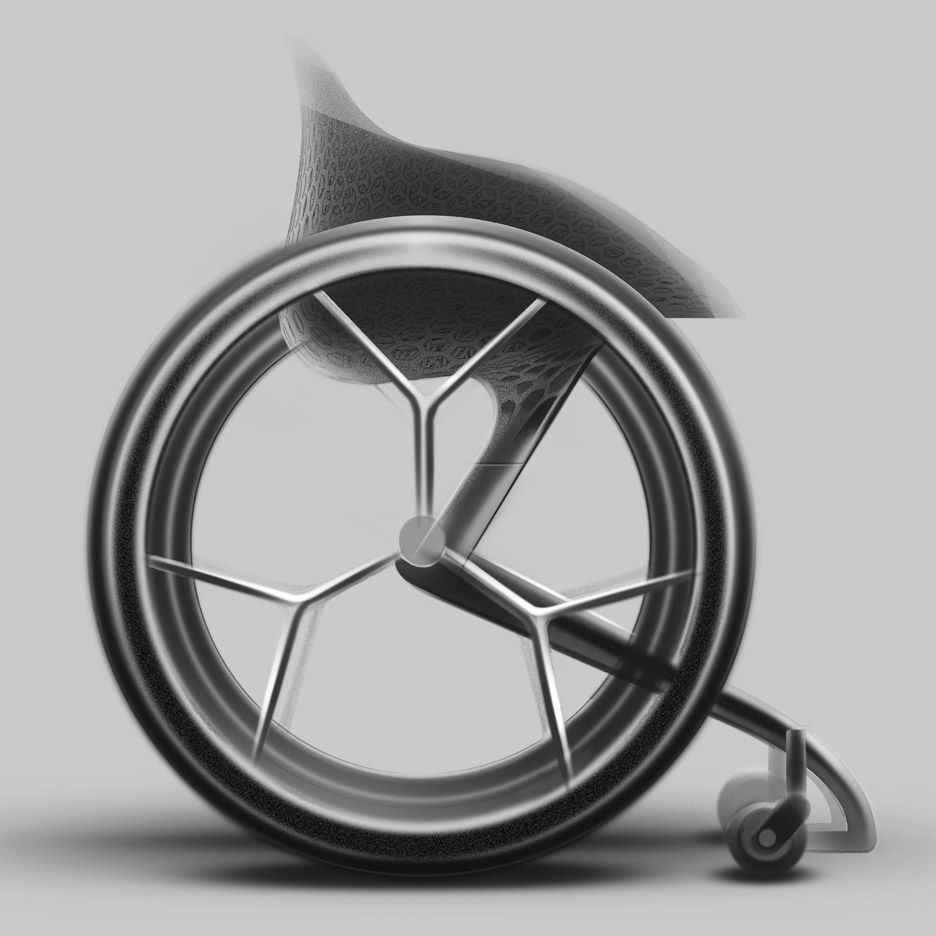 A lightweight wheelchair with thin cf spokes