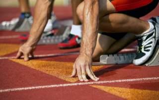 Anxious Athlete Waiting at Starting Line