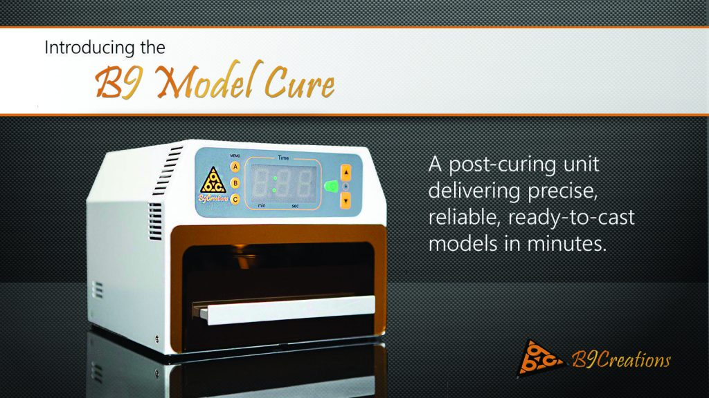 B9 model curing, post production for the desktop factory