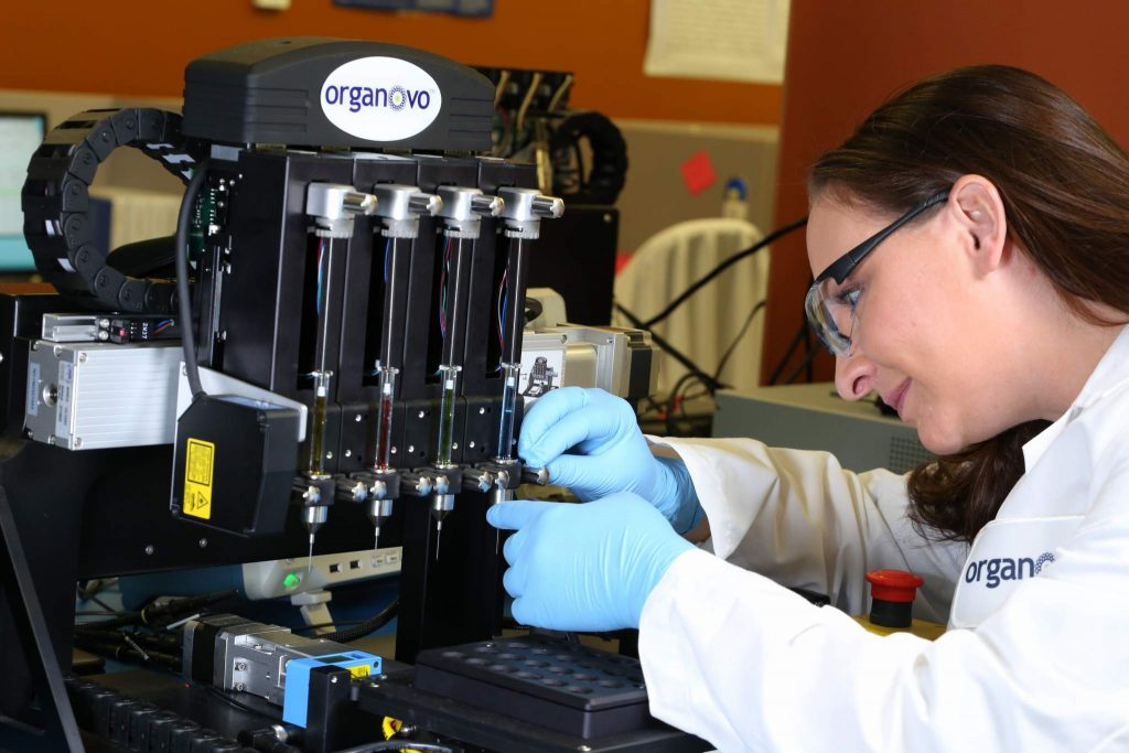 Tissue engineer loads Organovo's proprietary bioprinter. Photo via Organovo