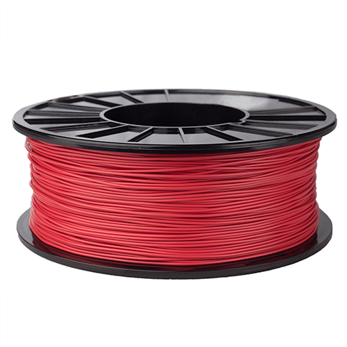 Phoenix filament in red, a Nylon filament created for 3D printing, pretty than modified