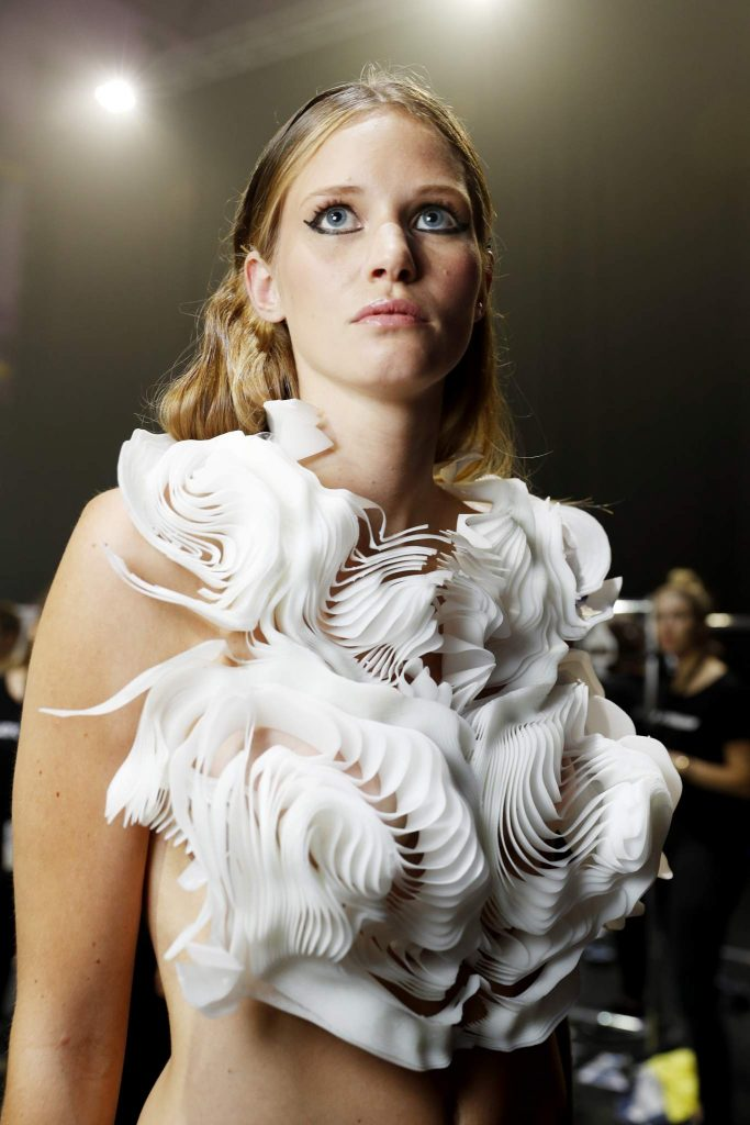 DUESSELDORF, GERMANY - JULY 23: A model is seen backstage ahead of the 3D Fashion Presented By Lexus show during Platform Fashion July 2016 at Areal Boehler on July 23, 2016 in Duesseldorf, Germany. (Photo by Andreas Rentz/Getty Images for Platform Fashion)