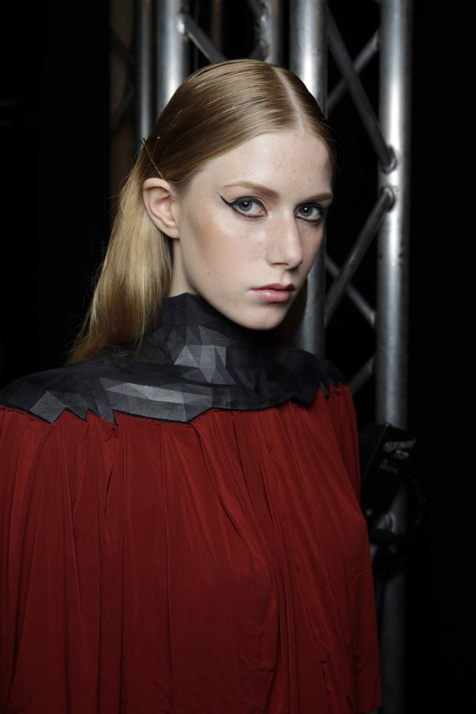 DUESSELDORF, GERMANY - JULY 23: A model is seen backstage ahead of the 3D Fashion Presented By Lexus show during Platform Fashion July 2016 at Areal Boehler on July 23, 2016 in Duesseldorf, Germany. (Photo by Sebastian Reuter/Getty Images for Platform Fashion)