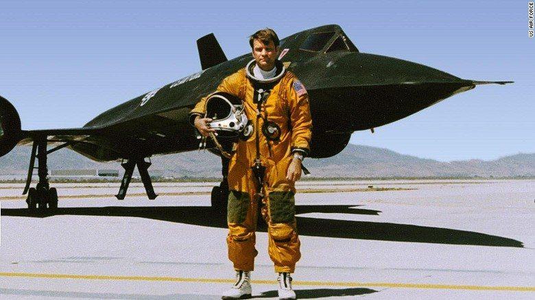 Record breaker, George Morgan in front of the Blackbird.