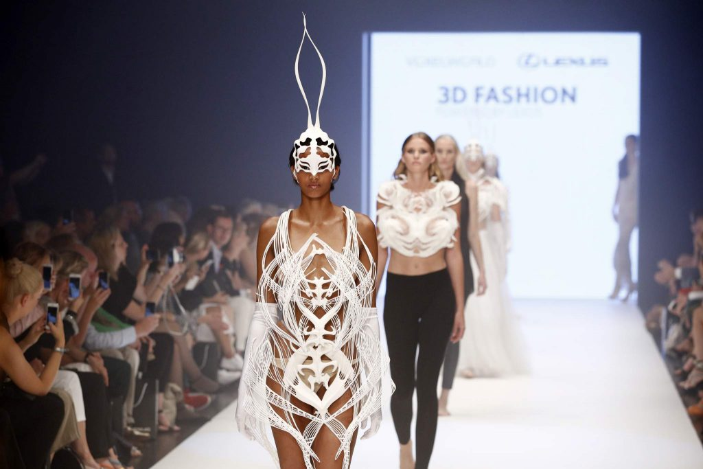DUESSELDORF, GERMANY - JULY 23: Models walk the runway at the 3D Fashion Presented By Lexus show during Platform Fashion July 2016 at Areal Boehler on July 23, 2016 in Duesseldorf, Germany. (Photo by Andreas Rentz/Getty Images for Platform Fashion)