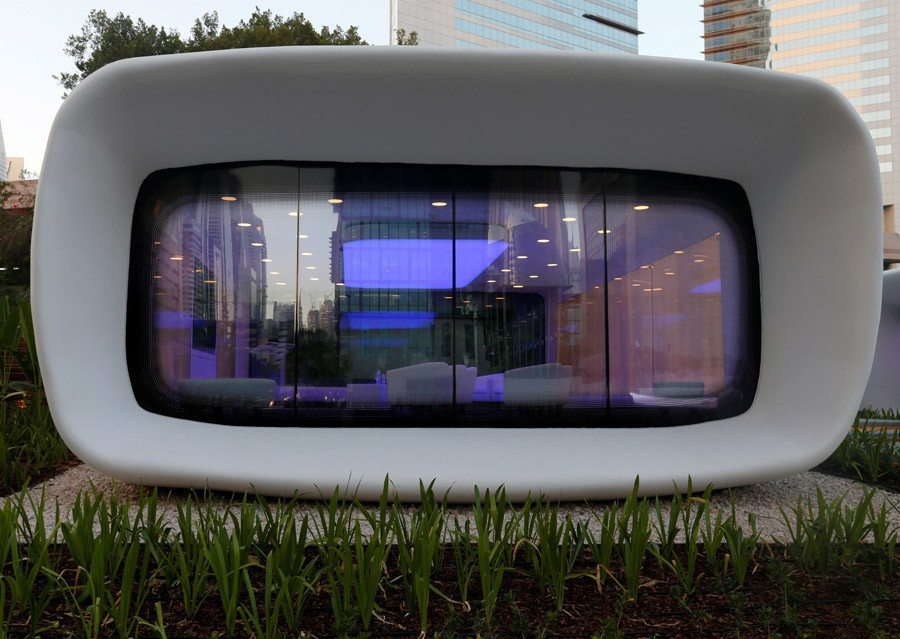 Dubai's first 3D printed office. Photo via the Dubai Future Foundation