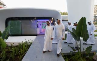 Sheikh Mohammed bin Rashid Al Maktoum (L), Vice-President and Prime Minister of the UAE and Ruler of Dubai, arrives for the official opening of the the first world functional 3D printed offices in Dubai May 23, 2016. REUTERS/Ahmed Jadallah
