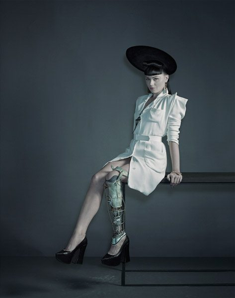 Viktoria Modesta wearing the Brass Leg. Image: Nadav Kander and Omkaar Kotedia