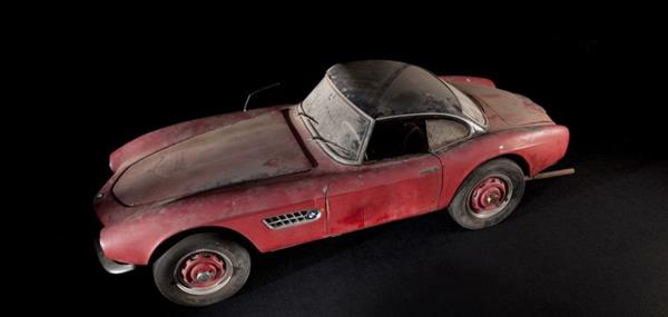 Elvis Presley's BMW 507 after it was rescued from a vegetable factory