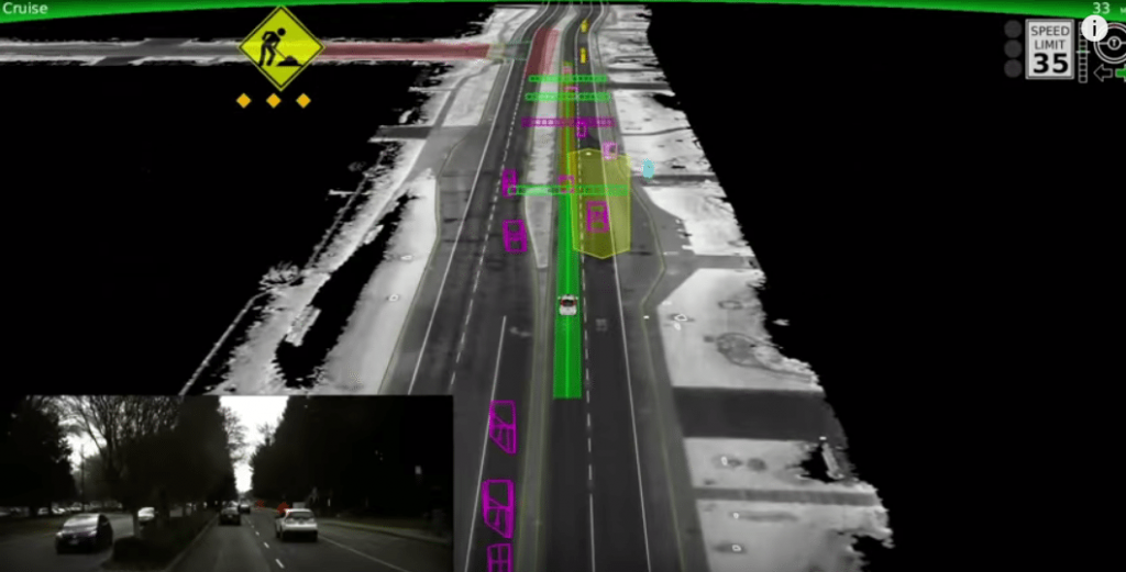 How the Google car sees the world using lidar.