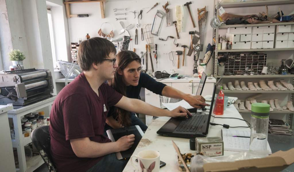 Sophie de Oliveira Barata and Rudi Kolenc working hard in the studio. Image: Katie Armstrong