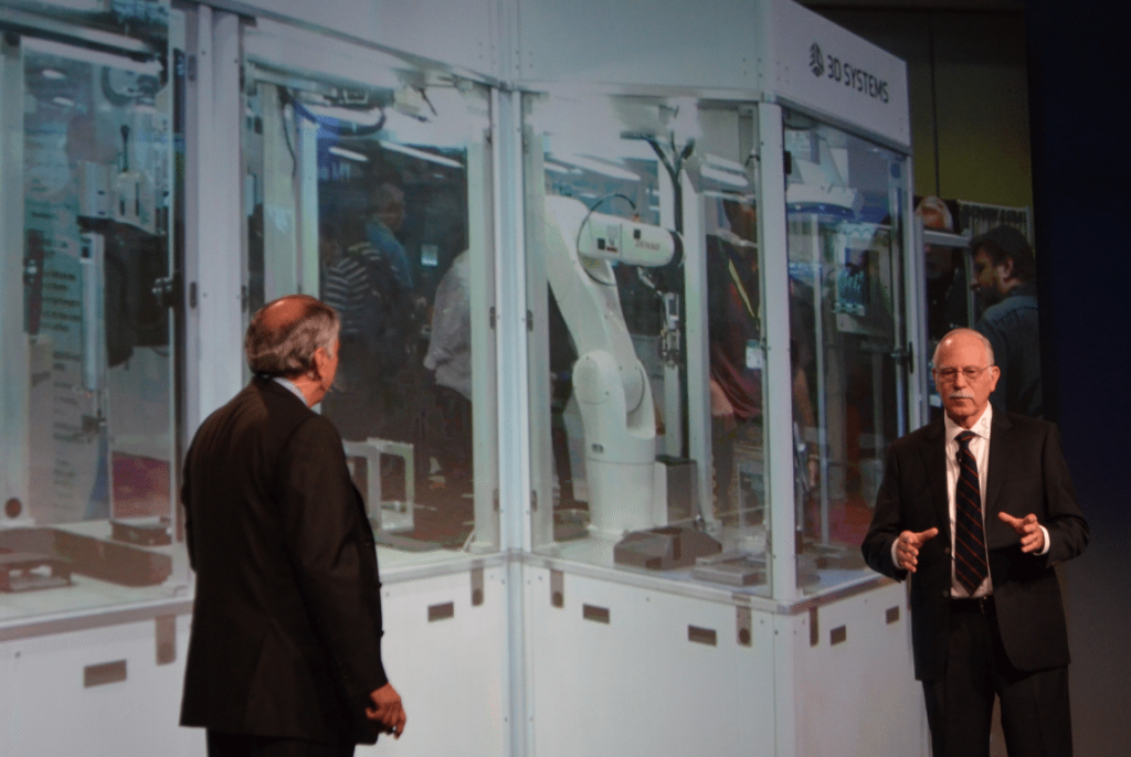 Father of 3D Printing, Chuck Hull and 3D Systems CEO watch Figure 4 demo