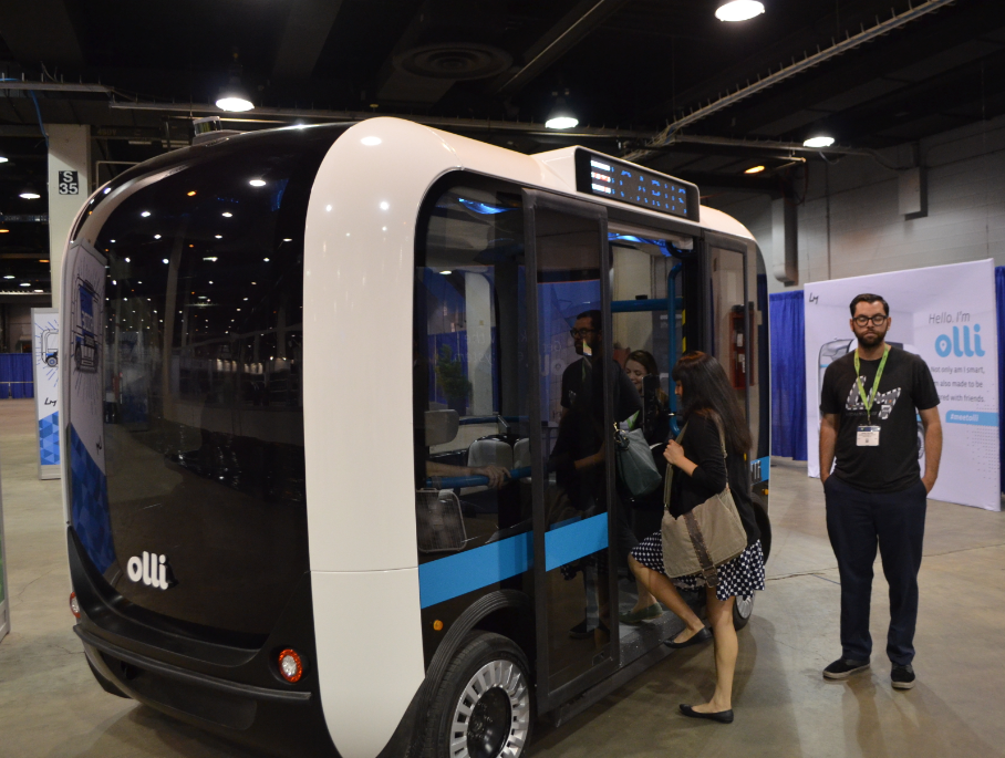 """You want outta this parking lot?... O.K."" Local Motors Self-driving vehicle Olli"