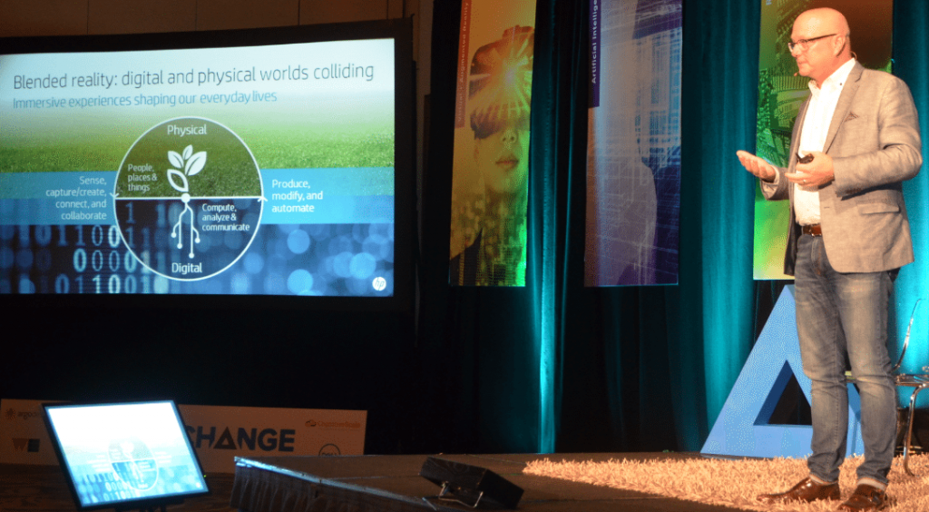 Shane Wall explains Blended Reality to the audience at the Gigaom Change Conference