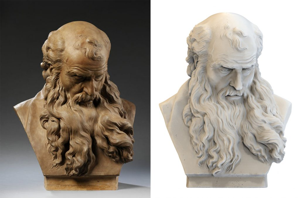 With the help of iMakr Jon has printed Pajou's Bearded Man at an almost 1:1 scale. Both figures will be displayed alongside each other for comparison at the weekend. Images left to right: Victoria and Albert Museum, MyMiniFactory