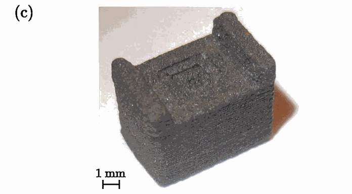 """[The above] shows a picture of the printed magnet with the isotropic Neofer® 25/60p material. The overall size of the magnet is 7 × 5 × 5.5 mm (L × W × H) with a layer height of 0.1 mm, and features with a thickness of 0.8 mm. This indicates the possibility to print miniaturized magnets with complex structures."" Image via: Appl. Phys. Lett. 109, 162401 (2016)"