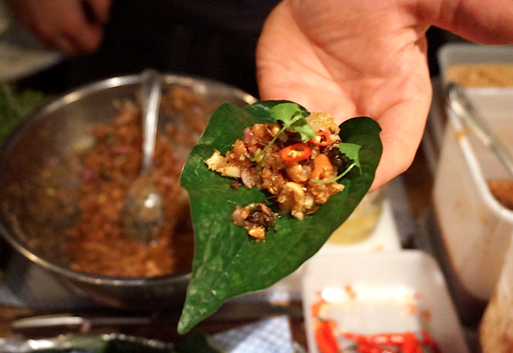 Thai insect miang at the Insect Bar, London.